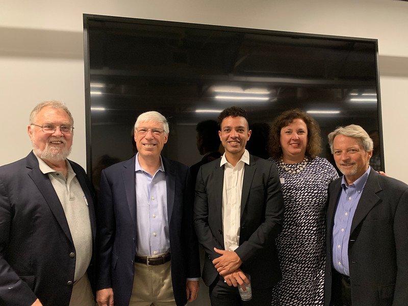 From Left Tim Sullivan, Mark Kramer, Scott Clarke (YC'02). Elena Labrada (YC'86) and Eric Nee
